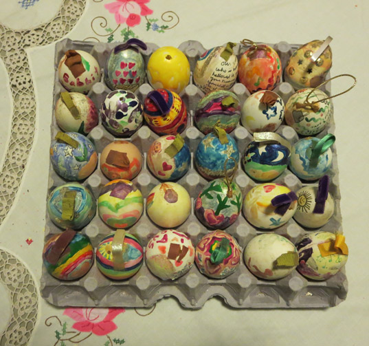 flat of painted blown eggs