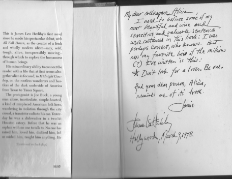James Leo Herlihy's inscription to my copy of Midnight Cowboy
