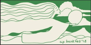 ap bank fes 18 towel in green and cream